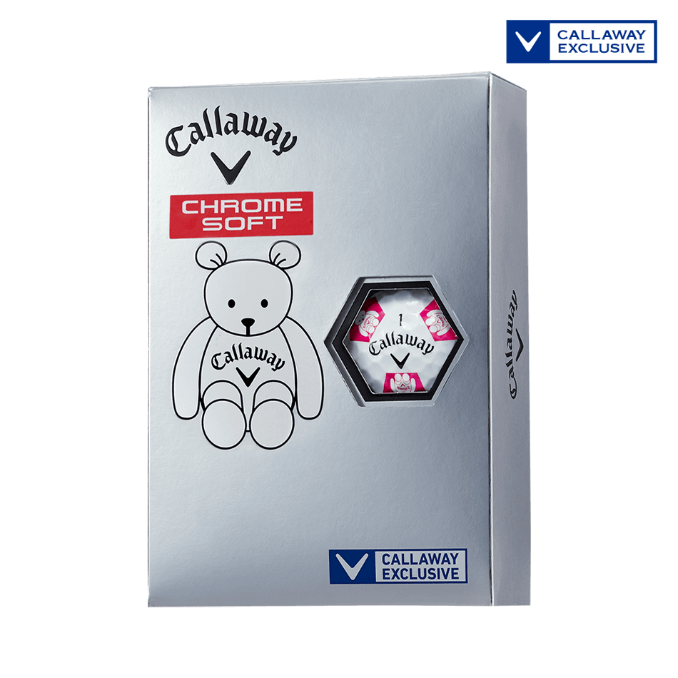 CHROME SOFT TRUVIS CALLAWAY BEAR ボール ホワイト / ピンク CE - Featured