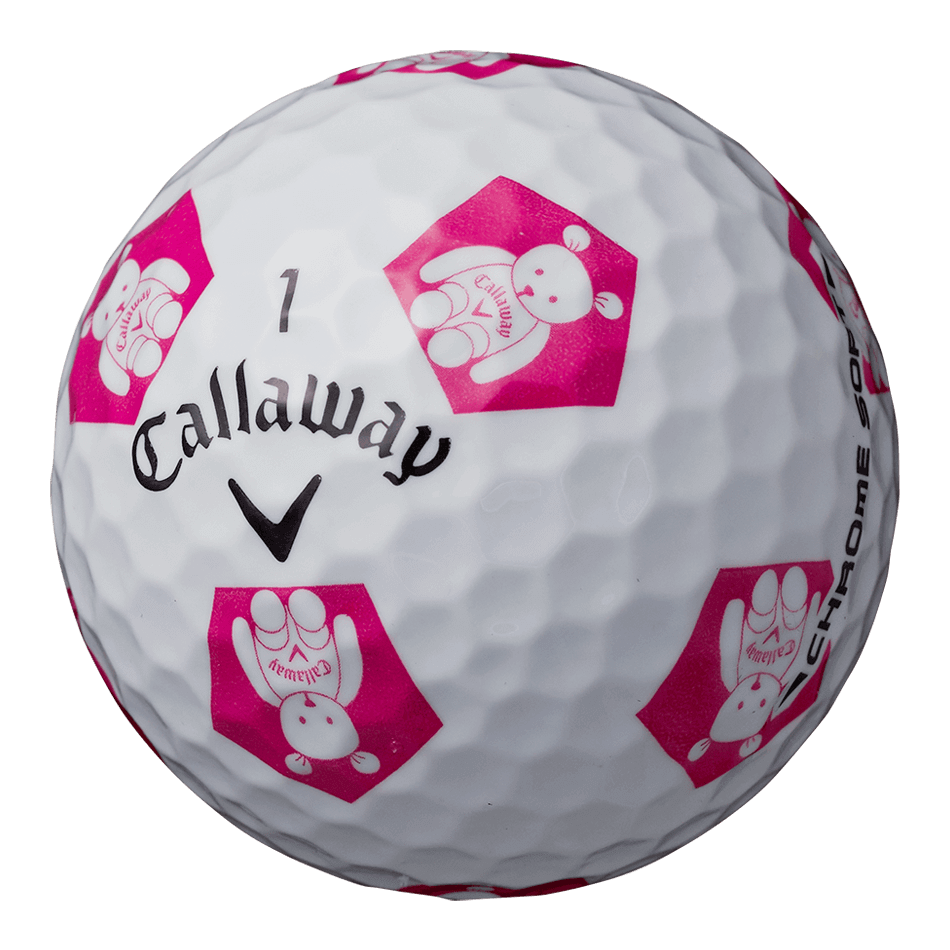 CHROME SOFT TRUVIS CALLAWAY BEAR ボール ホワイト / ピンク CE - View 2