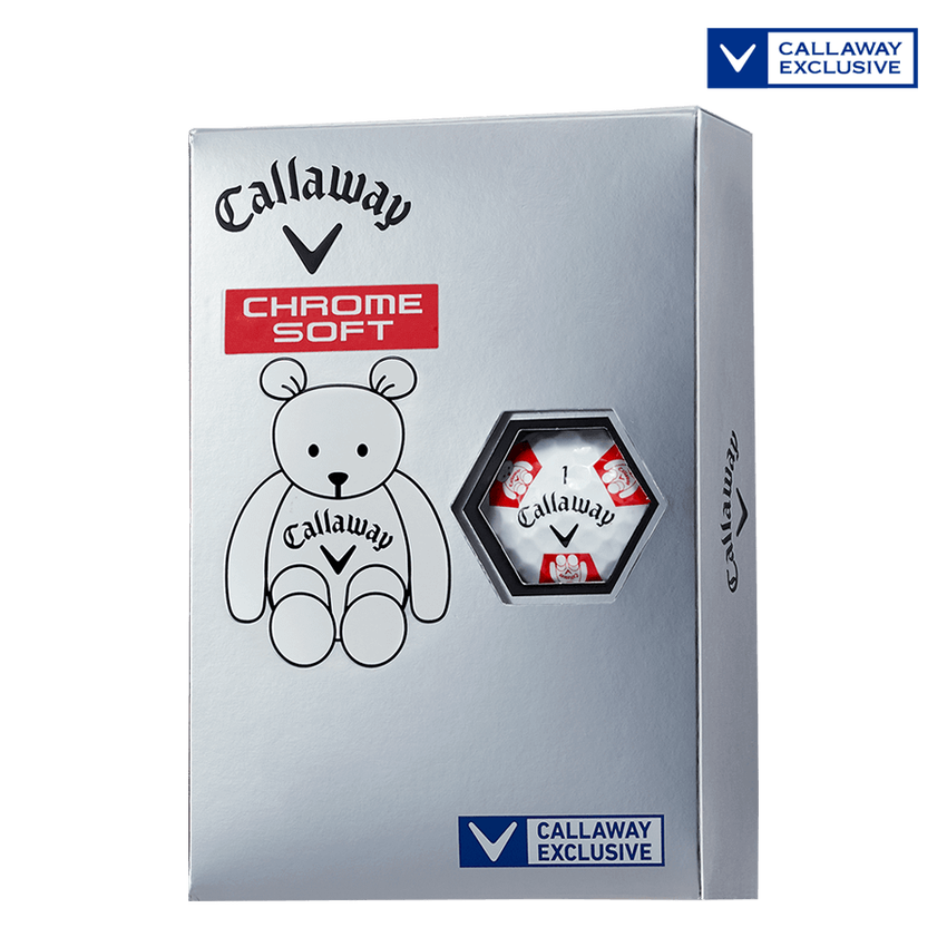 CHROME SOFT TRUVIS CALLAWAY BEAR ボール ホワイト / レッド CE - View 1