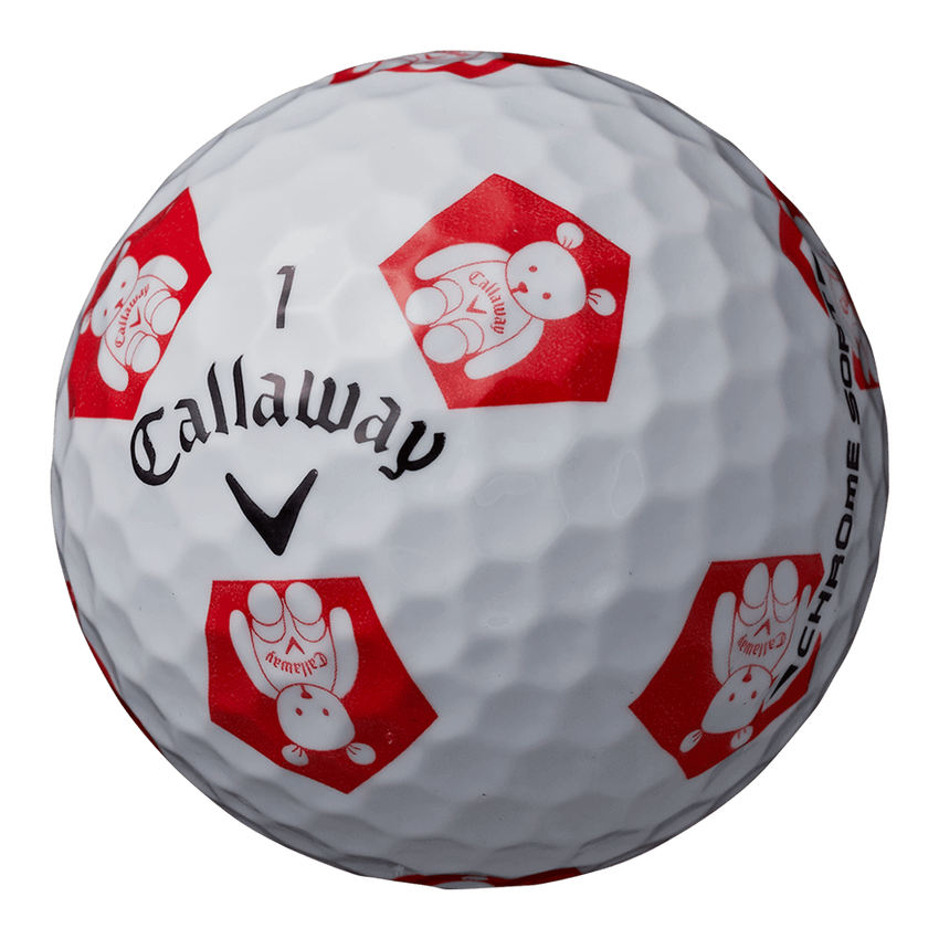 CHROME SOFT TRUVIS CALLAWAY BEAR ボール ホワイト / レッド CE - View 2