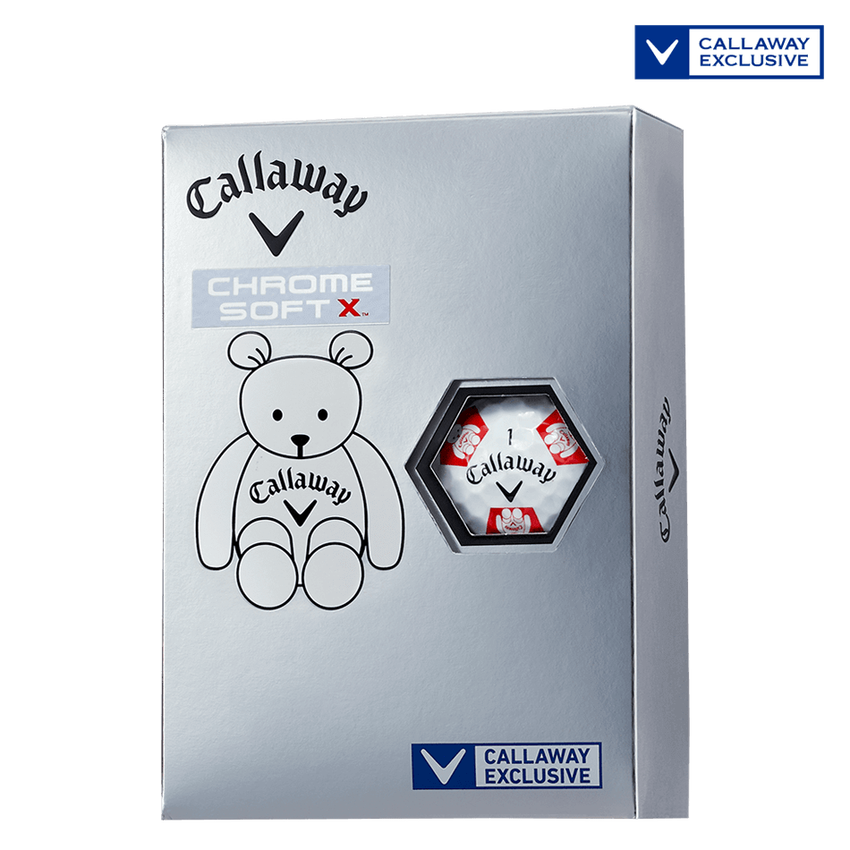 CHROME SOFT X TRUVIS CALLAWAY BEAR ボール ホワイト / レッド CE - View 1