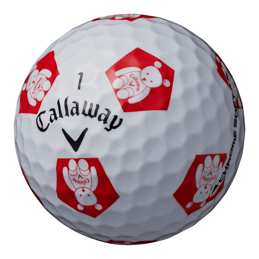 CHROME SOFT X TRUVIS CALLAWAY BEAR ボール ホワイト / レッド CE - View 2