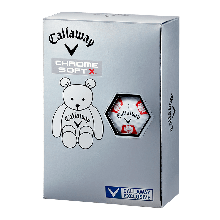 CHROME SOFT X TRUVIS CALLAWAY BEAR ボール ホワイト / レッド CE - View 5
