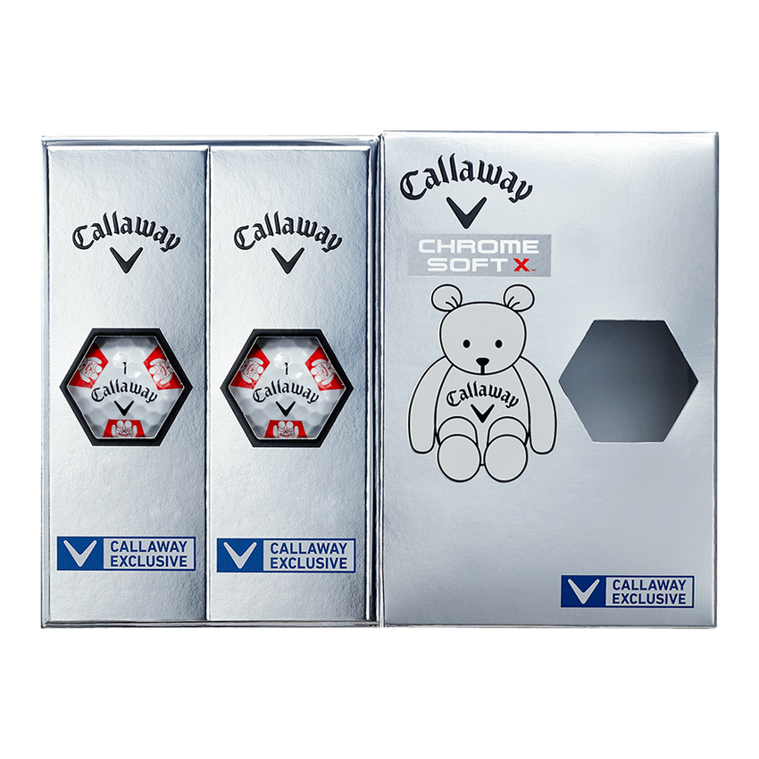 CHROME SOFT X TRUVIS CALLAWAY BEAR ボール ホワイト / レッド CE - View 7