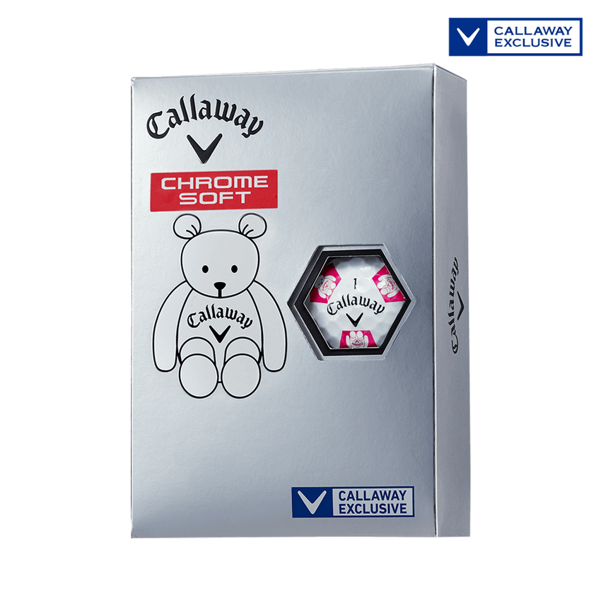 CHROME SOFT TRUVIS CALLAWAY BEAR ボール ホワイト / ピンク CE - View 1
